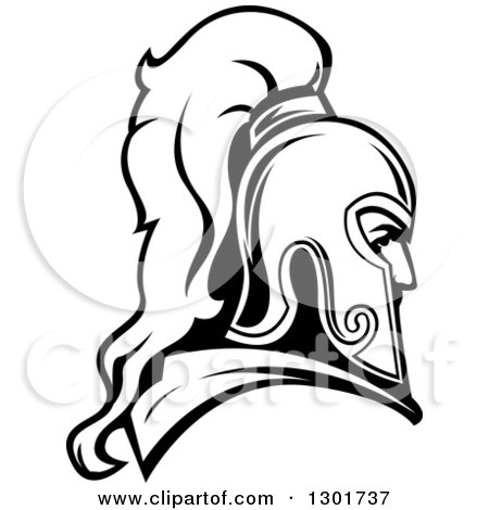 Clipart of a Black and White Roman Warrior in a Helmet - Royalty Free Vector Illustration by Vector Tradition SM