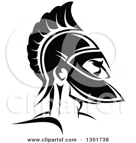 Clipart of a Black and White Angry Spartan Warrior in a Helmet 3 - Royalty Free Vector Illustration by Vector Tradition SM
