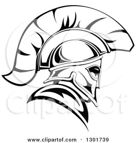 Clipart of a Black and White Angry Spartan Warrior in a Helmet 2 - Royalty Free Vector Illustration by Vector Tradition SM