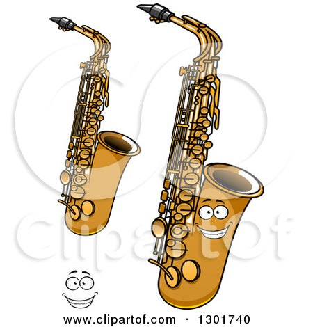 Clipart of a Cartoon Happy Face and Saxophone Instruments - Royalty Free Vector Illustration by Vector Tradition SM