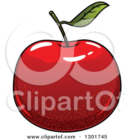 Clipart of a Cartoon Shiny Red Apple - Royalty Free Vector Illustration by Vector Tradition SM