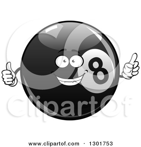 Clipart of a Happy Billiards Eightball Character Pointing and Giving a Thumb up - Royalty Free Vector Illustration by Vector Tradition SM