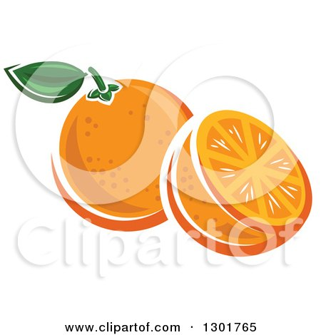 Clipart of a Half and Whole Orange - Royalty Free Vector Illustration by Vector Tradition SM