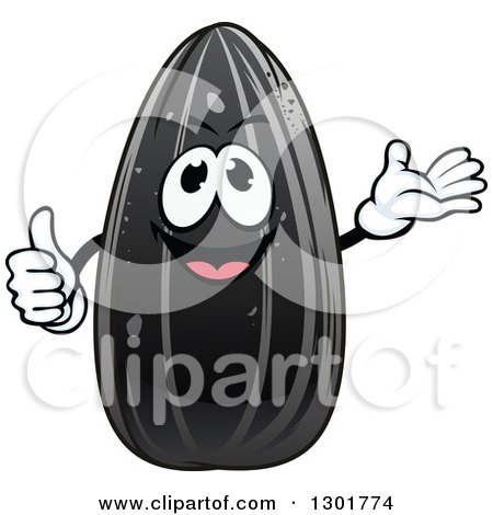 Clipart of a Cartoon Black Sunflower Seed Character Giving a Thumb up and Presenting - Royalty Free Vector Illustration by Vector Tradition SM
