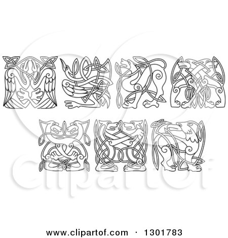 Clipart of Black and White Celtic Knot Dogs, Wolves, Herons, Storks and Griffins - Royalty Free Vector Illustration by Vector Tradition SM