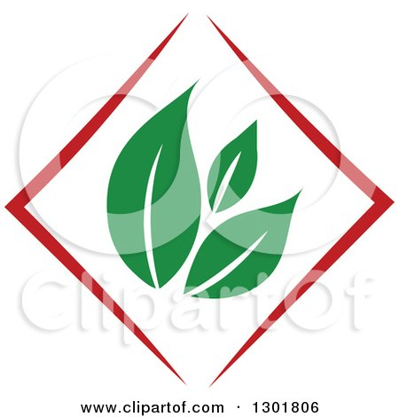 Clipart of a Green Leaf and Red Diamond Vegetarian Food Design - Royalty Free Vector Illustration by Vector Tradition SM