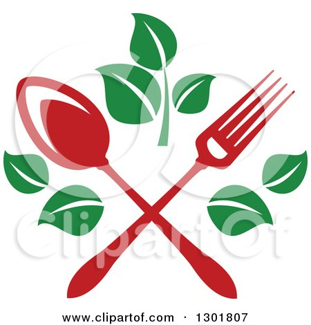 Clipart of a Crossed Red Fork and Spoon with Green Leaves Vegetarian Food Design - Royalty Free Vector Illustration by Vector Tradition SM