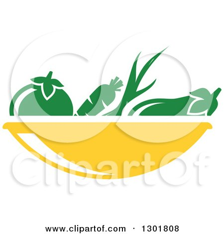 Clipart of a Yellow Bowl and Green Produce Vegetarian Food Design - Royalty Free Vector Illustration by Vector Tradition SM