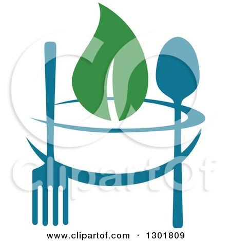 Clipart of a Teal Bowl, Silverware and Green Leaf Vegetarian Food Design - Royalty Free Vector Illustration by Vector Tradition SM