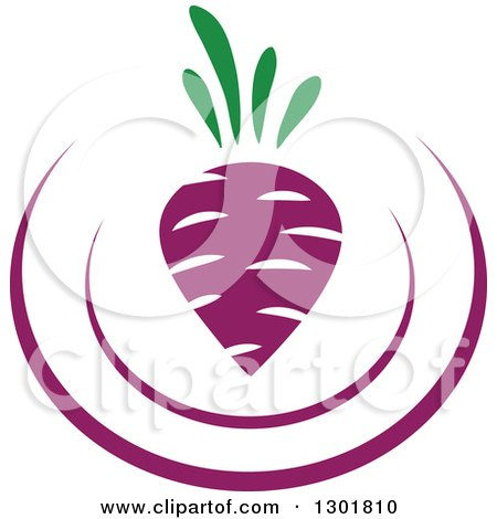 Clipart of a Purple Plate and Turnip Vegetarian Food Design - Royalty Free Vector Illustration by Vector Tradition SM