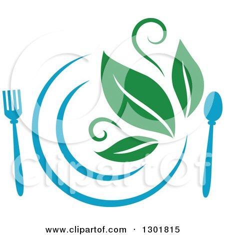 Clipart of a Blue Plate and Silverware and Green Leaves Vegetarian Food Design - Royalty Free Vector Illustration by Vector Tradition SM