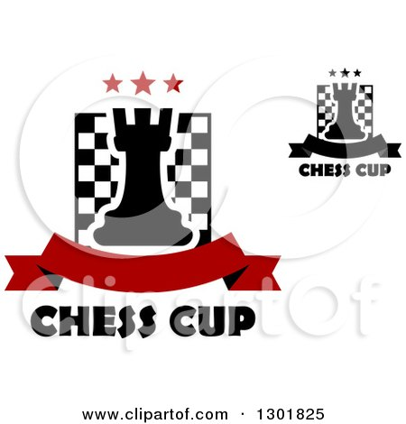 Clipart of Chess Boards and Rooks with Stars, Banners and Text - Royalty Free Vector Illustration by Vector Tradition SM