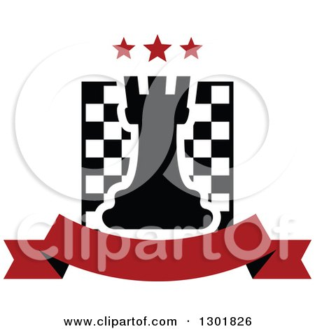 Clipart of a Chess Board and Rook with Stars over a Blank Red Banner - Royalty Free Vector Illustration by Vector Tradition SM