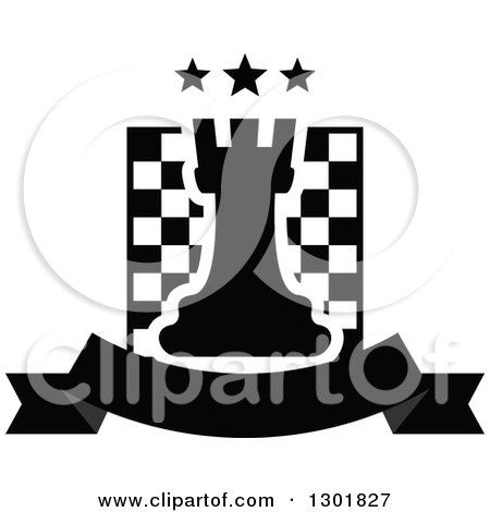 Clipart of a Chess Board and Rook with Stars over a Blank Banner - Royalty Free Vector Illustration by Vector Tradition SM