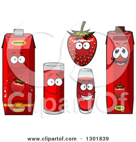 Clipart of a Smiling Strawberry Character and Juice 2 - Royalty Free Vector Illustration by Vector Tradition SM