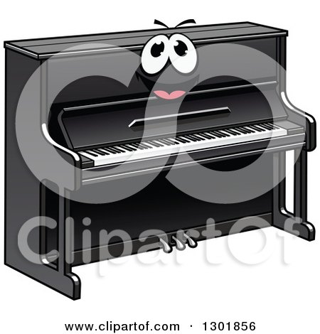 Clipart of a Cartoon Black Piano Character - Royalty Free Vector Illustration by Vector Tradition SM