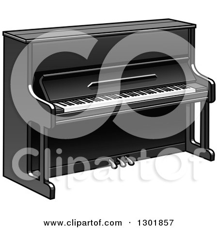 Clipart of a Cartoon Black Piano - Royalty Free Vector Illustration by Vector Tradition SM