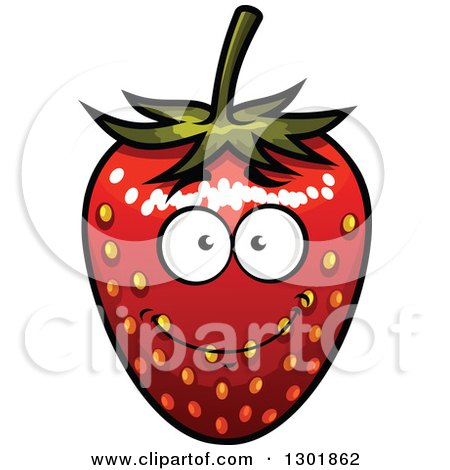 Clipart of a Smiling Strawberry Character - Royalty Free Vector Illustration by Vector Tradition SM