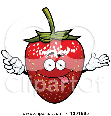 Clipart of a Goofy Strawberry Character Presenting and Pointing - Royalty Free Vector Illustration by Vector Tradition SM