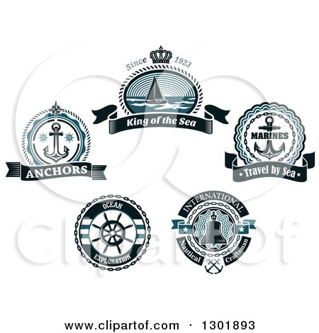 Clipart of Nautical Sailboat, Anchor, Bell and Helm Designs with Text - Royalty Free Vector Illustration by Vector Tradition SM
