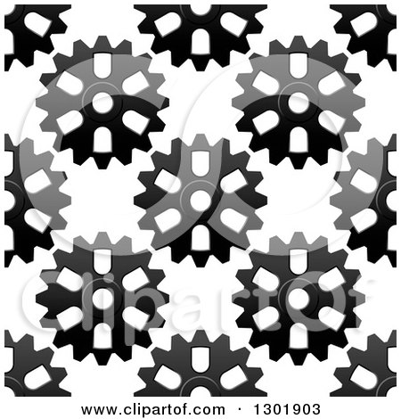Clipart of a Seamless Background Pattern of Grayscale Gear Cogs 3 - Royalty Free Vector Illustration by Vector Tradition SM