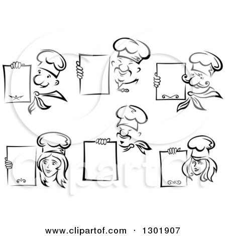 Clipart of Black and White Male and Female Chefs with Blank Menu Boards - Royalty Free Vector Illustration by Vector Tradition SM