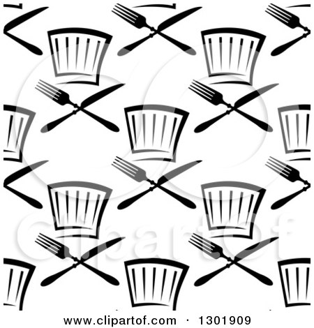 Clipart of a Seamless Black and White Pattern of Chef Hats and Cutlery 2 - Royalty Free Vector Illustration by Vector Tradition SM