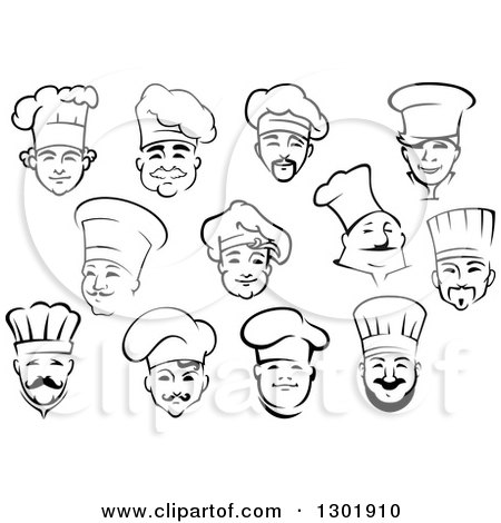 Clipart of Black and White Male Chef Faces 3 - Royalty Free Vector Illustration by Vector Tradition SM