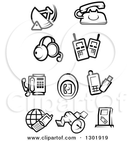 Clipart of Black and White Communications Icons - Royalty Free Vector Illustration by Vector Tradition SM