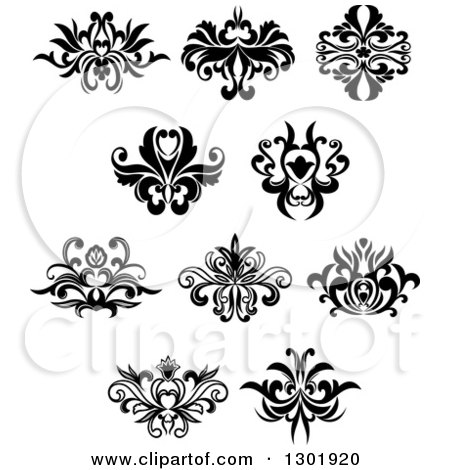 Clipart of Black and White Vintage Floral Design Elements 7 - Royalty Free Vector Illustration by Vector Tradition SM