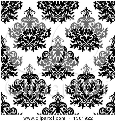 Clipart of a Seamless Pattern Background of Vintage Damask in Black on White - Royalty Free Vector Illustration by Vector Tradition SM