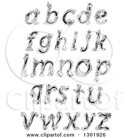 Clipart of Black and White Vintage Floral Lowercase Letters - Royalty Free Vector Illustration by Vector Tradition SM