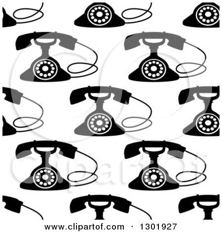 Clipart of a Seamless Background Pattern of Black and White Retro Telephones - Royalty Free Vector Illustration by Vector Tradition SM