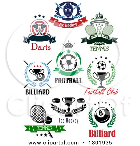 Clipart of Ice Hockey, Darts, Tennis, Soccer, Billiards, and Tennis Sports Designs with Text - Royalty Free Vector Illustration by Vector Tradition SM