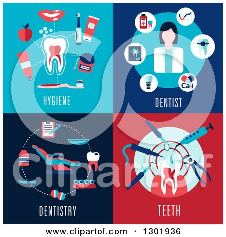 Clipart of Flat Modern Dental Icon Designs with Text - Royalty Free Vector Illustration by Vector Tradition SM