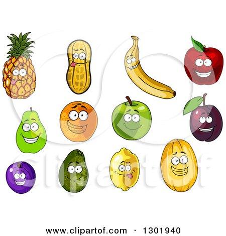 Clipart of Cartoon Pineapple, Peanut, Banana, Apple, Pear, Orange, Plum, Avocado, Lemon and Melon Characters - Royalty Free Vector Illustration by Vector Tradition SM