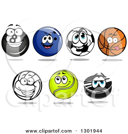 Clipart of Sports Ball Characters - Royalty Free Vector Illustration by Vector Tradition SM