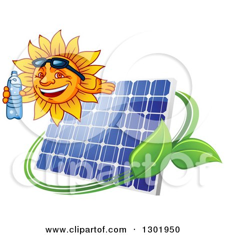 Clipart of a Happy Sun Holding a Bottled Water and Presenting over a Solar Panel, Swoosh and Leaves - Royalty Free Vector Illustration by Vector Tradition SM