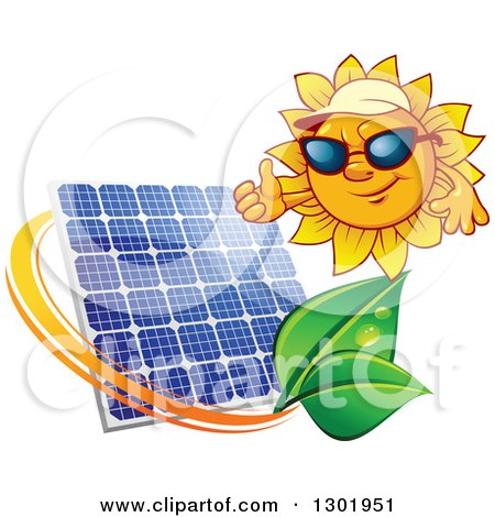 Clipart of a Sun Character Wearing Shades and a Visor Hat and Giving a Thumb up over a Solar Panel Encircled with a Swoosh and Green Leaves - Royalty Free Vector Illustration by Vector Tradition SM