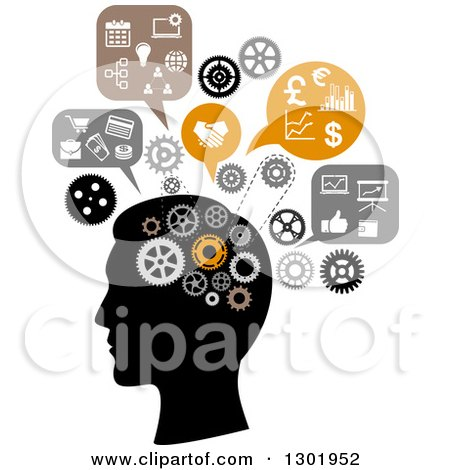 Silhouetted Man's Head Thinking of Finance and Business Posters, Art Prints