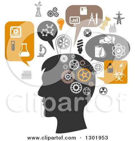 Clipart of a Silhouetted Man's Head Thinking of Science and Chemistry - Royalty Free Vector Illustration by Vector Tradition SM