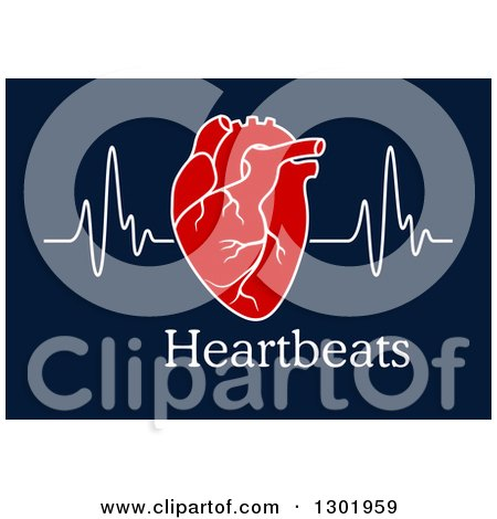 Clipart of a Red Human Heart and Beat over Text on Blue - Royalty Free Vector Illustration by Vector Tradition SM