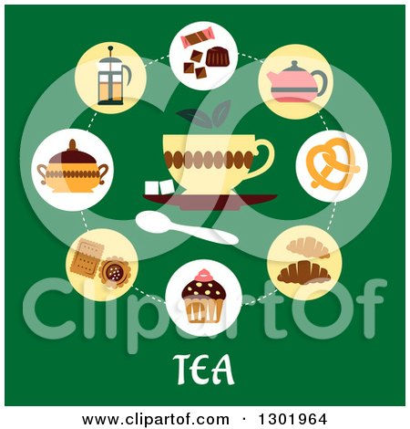 Clipart of a Flat Modern Design of Snacks and Tea Icons over Text on Green - Royalty Free Vector Illustration by Vector Tradition SM