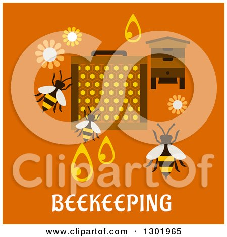 Clipart of a Flat Modern Design of Bees and Beekeeping Items on Orange with Text - Royalty Free Vector Illustration by Vector Tradition SM