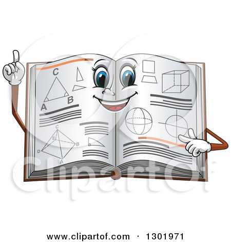 Clipart of a Cartoon Smart Geometry Math Book Holding up a Finger - Royalty Free Vector Illustration by Vector Tradition SM