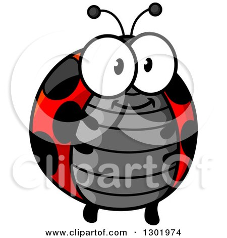 Clipart of a Cartoon Happy Chubby Ladybug - Royalty Free Vector Illustration by Vector Tradition SM