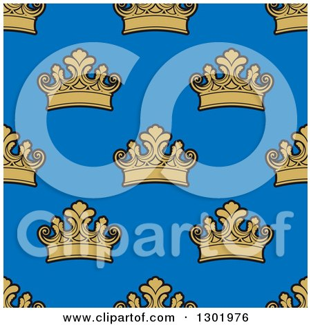 Clipart of a Seamless Pattern Background of Gold Crowns on Blue - Royalty Free Vector Illustration by Vector Tradition SM