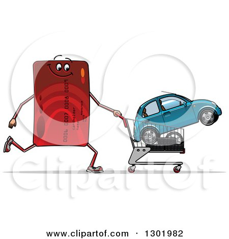 Clipart of a Cartoon Red Credit Card Character Pushing a Shopping Cart with a Car - Royalty Free Vector Illustration by Vector Tradition SM