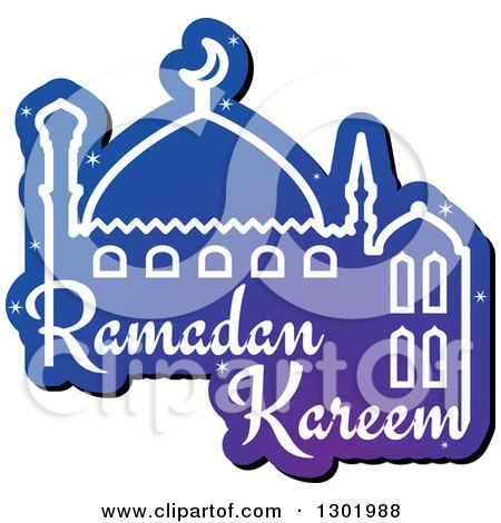 Clipart of a Blue Mosque with Shining Stars and Ramadan Kareem for Muslim Holy Month - Royalty Free Vector Illustration by Vector Tradition SM