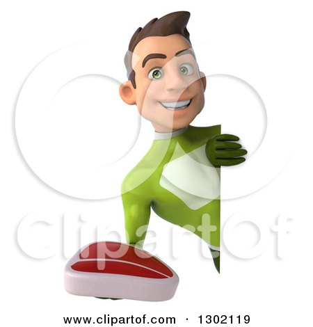 Clipart of a 3d Young Brunette White Male Super Hero in a Green Suit, Holding a Beef Steak Around a Sign - Royalty Free Illustration by Julos